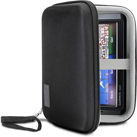 USA Gear Hard Shell Electronic Organizer Travel Case 7.5 Inch with Weather-Resistant Exterior and Large Mesh Accessory Pocket Chargers Compatible with Garmin GPS Hard Drives and More Electronics GRHLH75100BKEW