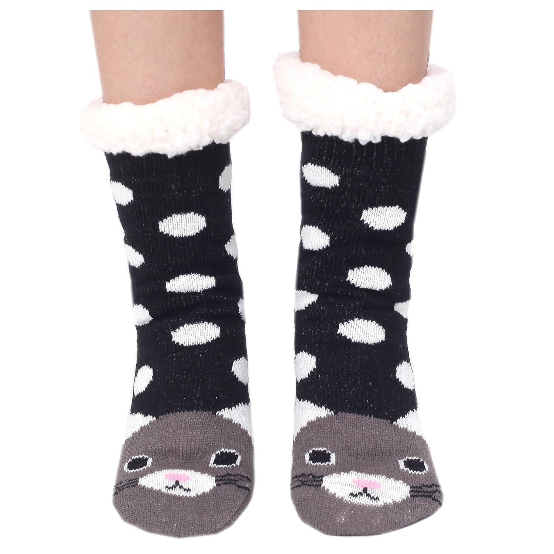 a6155f3e211 Marlong Womens Warm Soft Cute Cartoon Animals fuzzy Cozy Non-Slip Winter  Indoor Slipper Socks