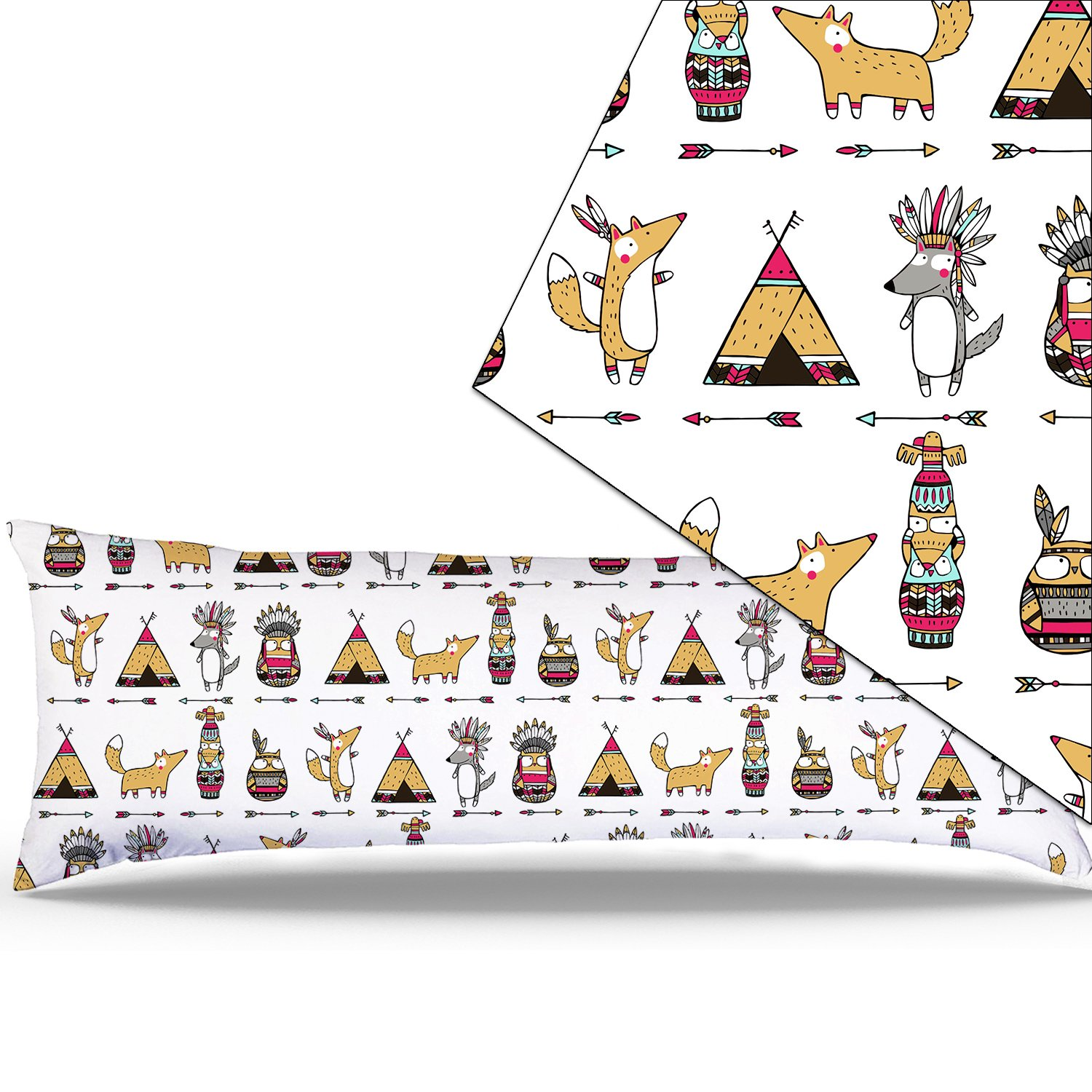 Miller00 Body Pillowcase 20'' x 54'' Zipper Cotton Maternity Pregnancy Long Body Pillow Covers Cases Animals In Indian Hotel Home Decorative At Bed