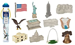 Safari Ltd. USA Super TOOB - Contains 12 of America's Most Iconic Symbols and Monuments - Phthalate, Lead and BPA Free - For Ages 5+