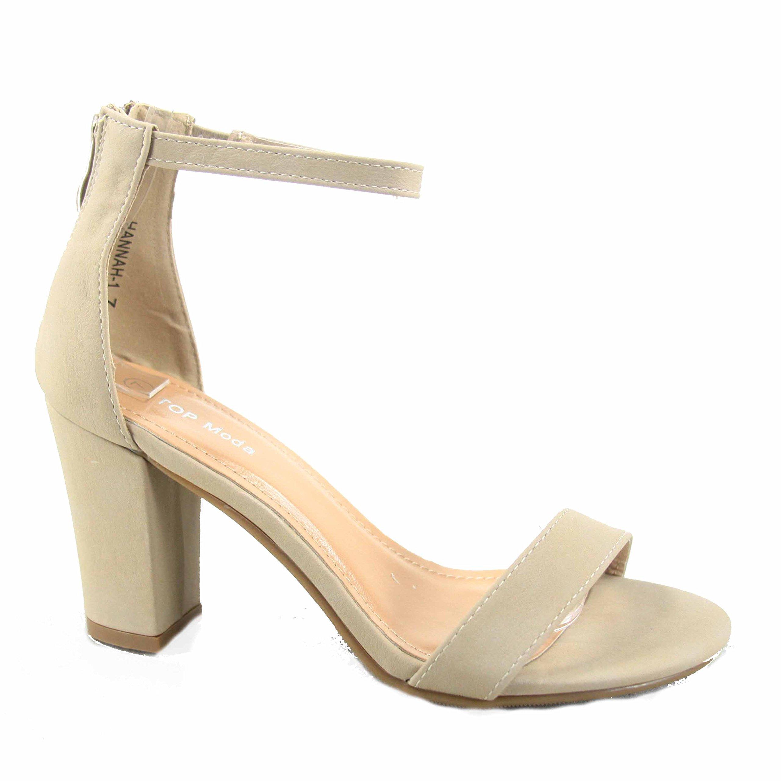 Top Moda Hannah-1 Women's Fashion Ankle Strap Evening Dress High Heel Sandal Shoes (7.5 B(M) US, Beige)