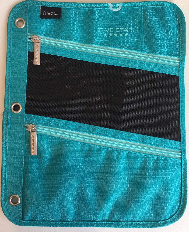 Five Star Pencil Pouch, Pen Case, Fits 3 Ring Binder, Zipper Pouch, Blue/Orange (50642CB8) (Grey)