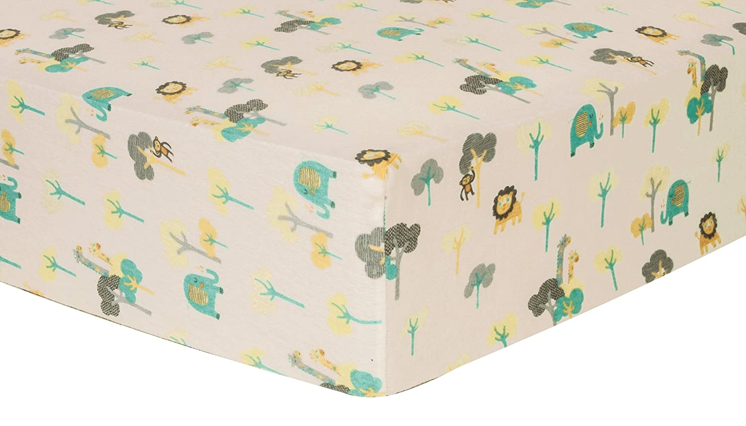 Trend Lab Lullaby Jungle Deluxe Flannel Fitted Crib Sheet 101248