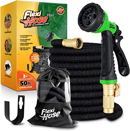 Carry Case Hook Extra Strength with 3//4 Inch Solid Brass Fittings /& Double Latex Core No-Kink Flexibility Flexi Hose Plus Lightweight Expandable Garden Hose