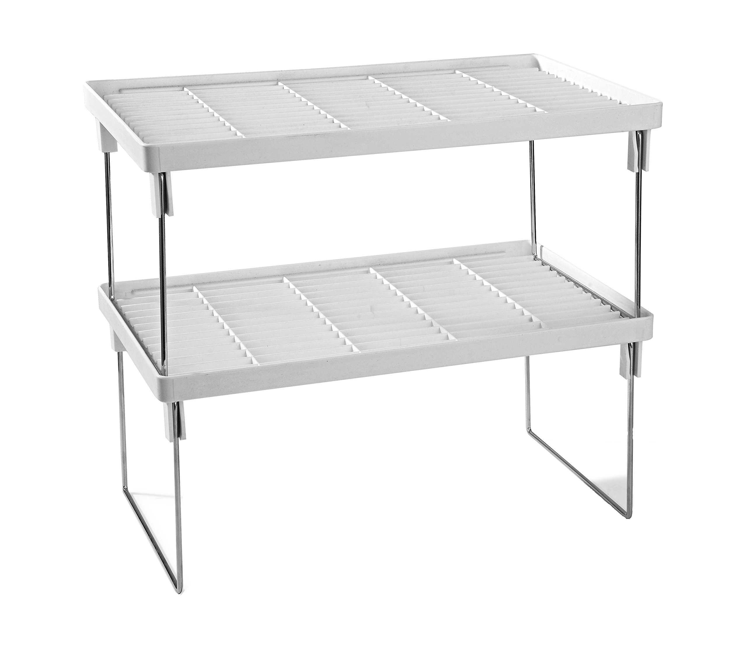 Disha Abs Plastic Folding Rack, 15.5X9.5X7.2, 2-Piece, White And Silver product image
