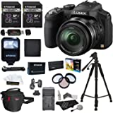 "Panasonic Lumix DMC-FZ200 12.1 MP Digital Camera with CMOS Sensor and 24x Optical Zoom Black, Polaroid 32GB UHSI + 50"" Tripod + flash + Battery + Charger + Filter Kit + Bag + Accessory Bundle"