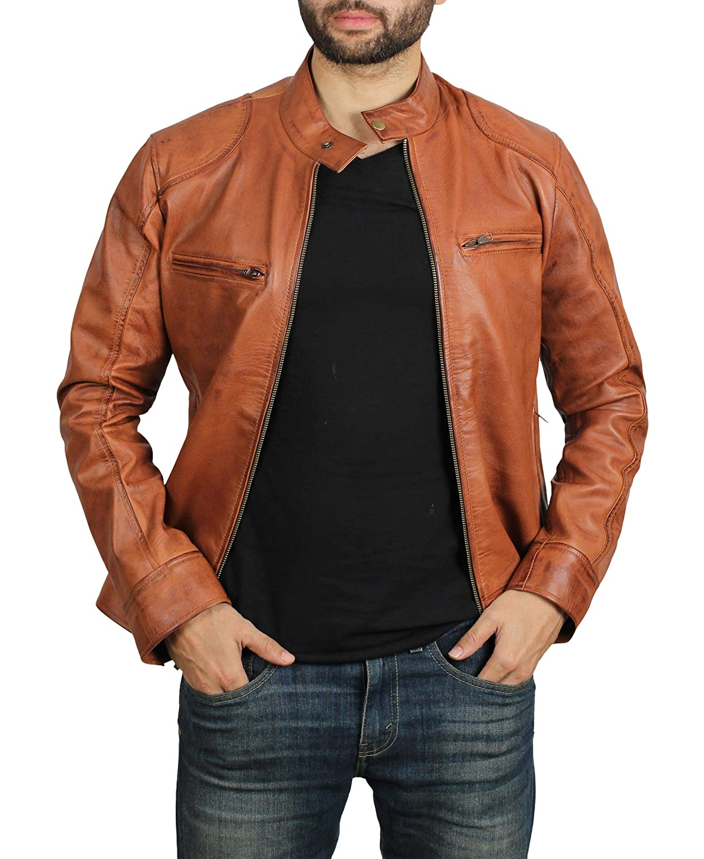 fjackets Brown Leather Jacket Men Genuine Lambskin Mens Leather Jacket