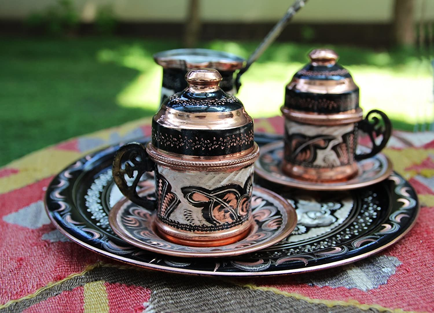 Copper Turkish Coffee Set for Two with Coffee Pot, Totally Handmade, Express Shipping with Track Number
