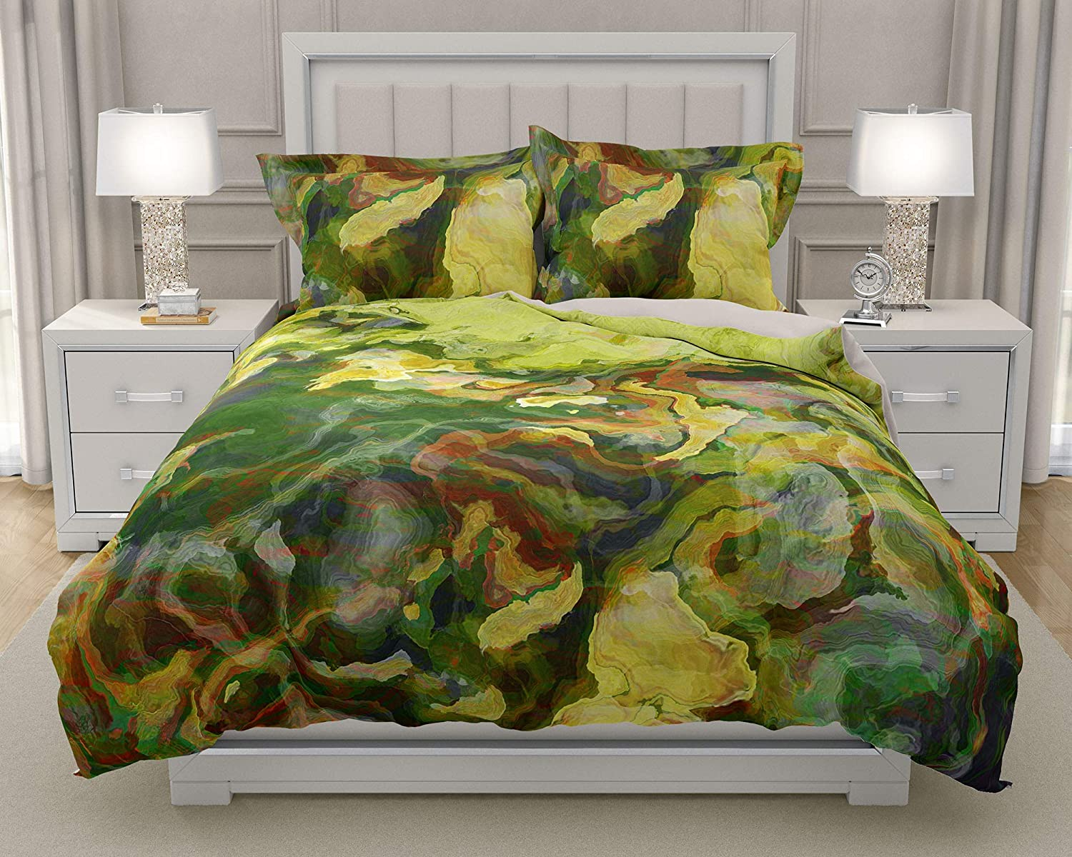 Image of Home and Kitchen King or Queen 3 pc Duvet Cover Set with abstract art, Lemon Tree