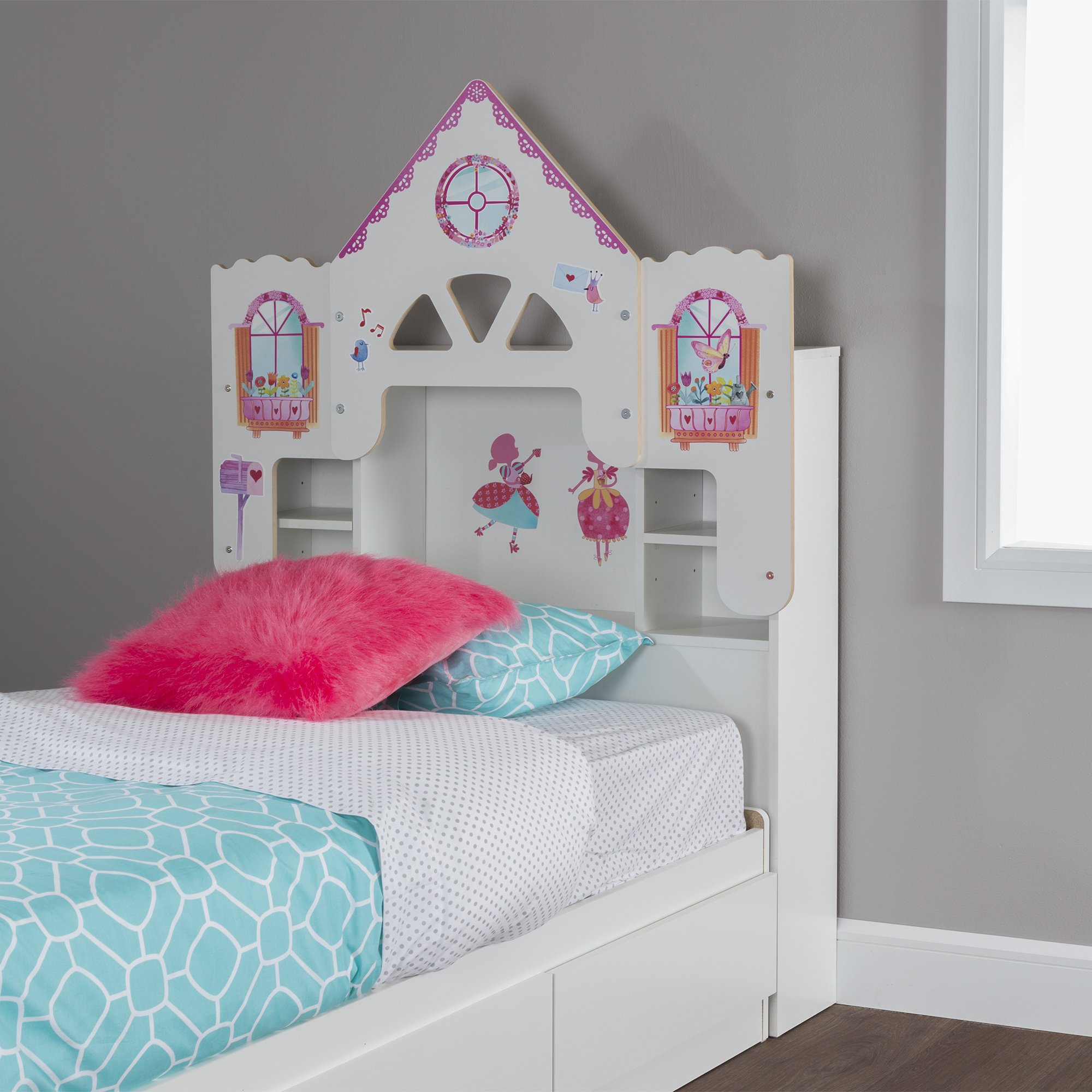 South Shore 39'' Dollhouse Themed Vito Bookcase Headboard with Decals, Twin, Pure White