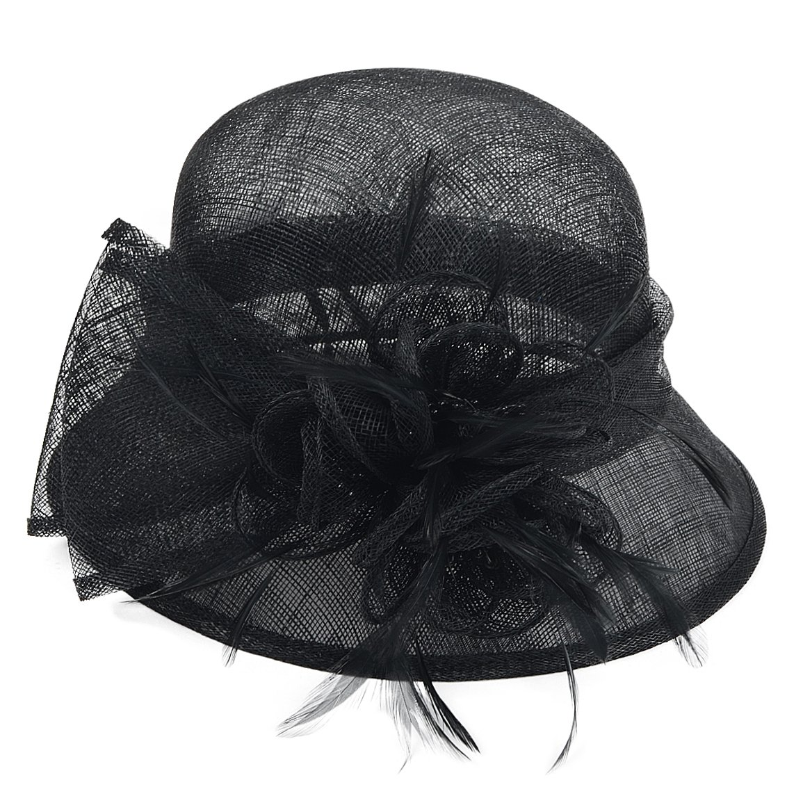 FORBUSITE Occasion Church Wedding Sinamay Cloche Hats for Women SM122 (Black) by FORBUSITE (Image #2)