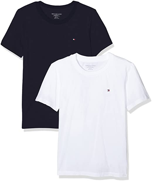 56e1cce566 Tommy Hilfiger Boy s T-Shirt Pack of 2  Amazon.co.uk  Clothing