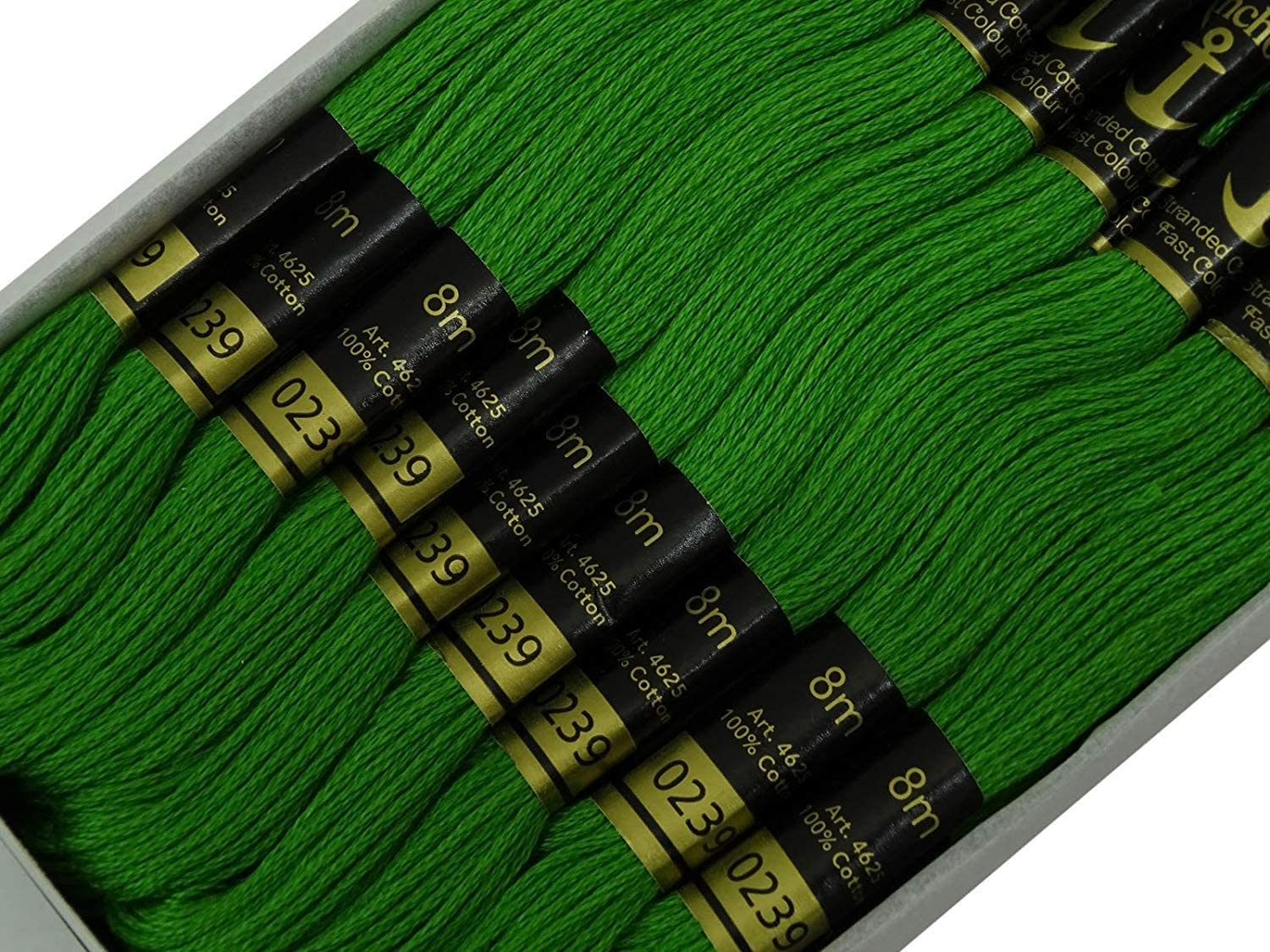 25 Anchor Embroidery Cotton Thread  Skeins  Floss in Green Color
