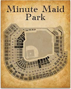 Houston Minute Maid Park Baseball Seating Chart - 11x14 Unframed Art Print - Great Sports Bar Decor and Gift Under $15 for Baseball Fans