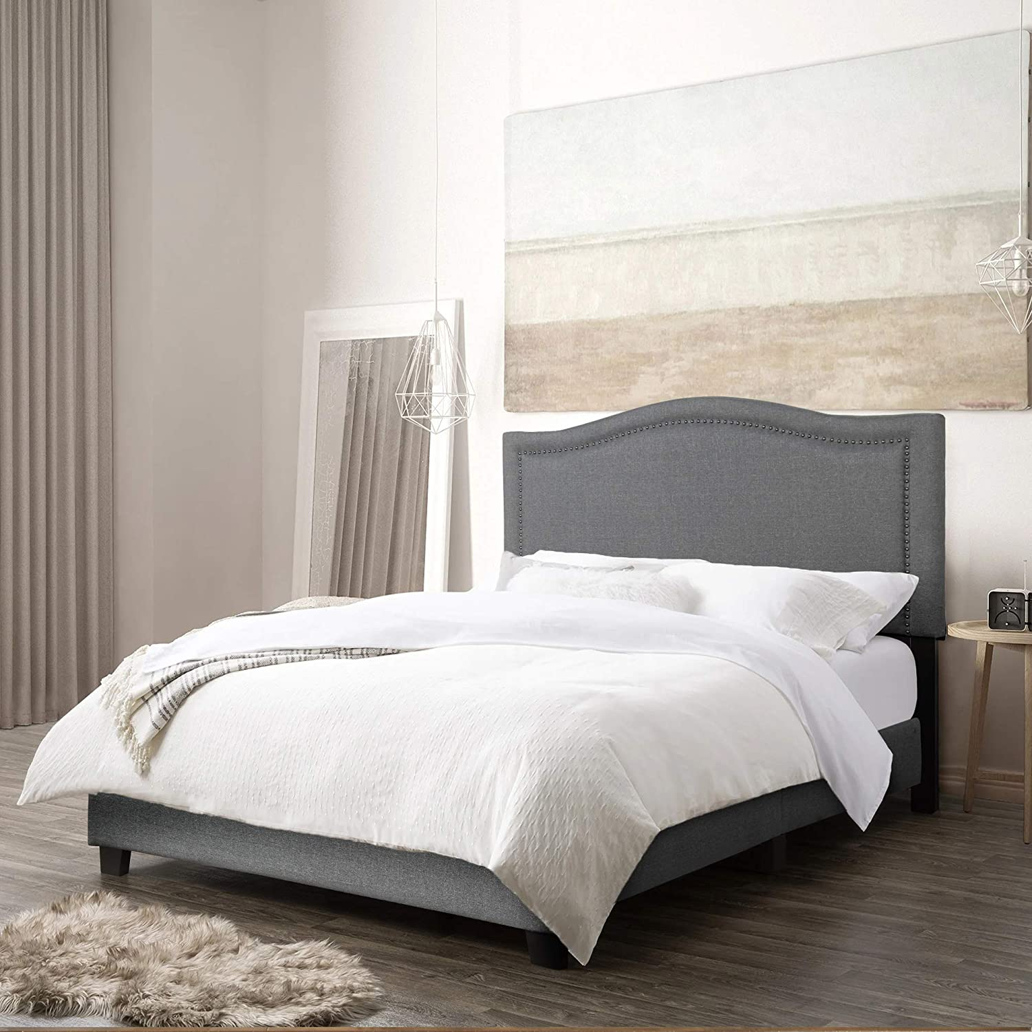 Mooseng Fully-Upholstered Platform Bed Contemporary Mattress Foundation with Headboard,Low-Profile, Full, Gray