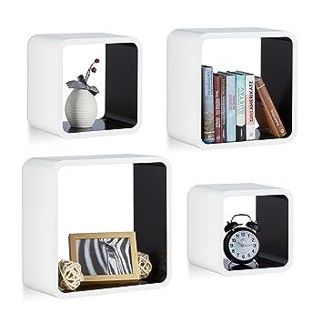 Relaxdays Wandregal Cube Im 4er Set, Quadratisches MDF Wandboard,  Belastbares Dekoregal Für Wohnzimmer,