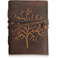 RSN Leather Journal Tree of Life - Writing Notebook Handmade Leather Bound Daily Notepads for Men & Women 7x5 Inches - Best Gift for Art Sketchbook, Travel Diary