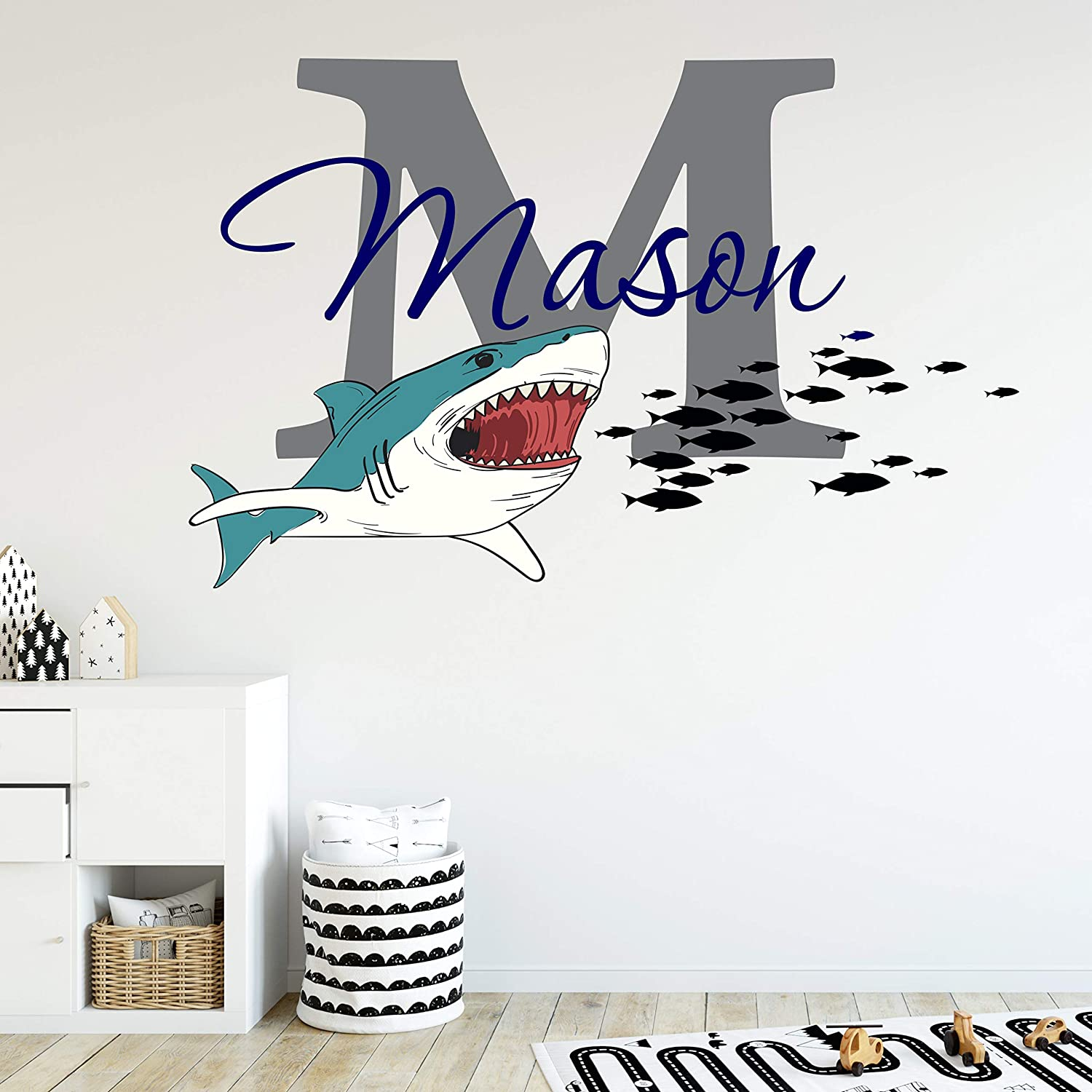 Boys Nursery Great White Shark Bite! Personalized Custom Name and Initial Vinyl Wall Decal, Decor Wall Stickers (Medium)