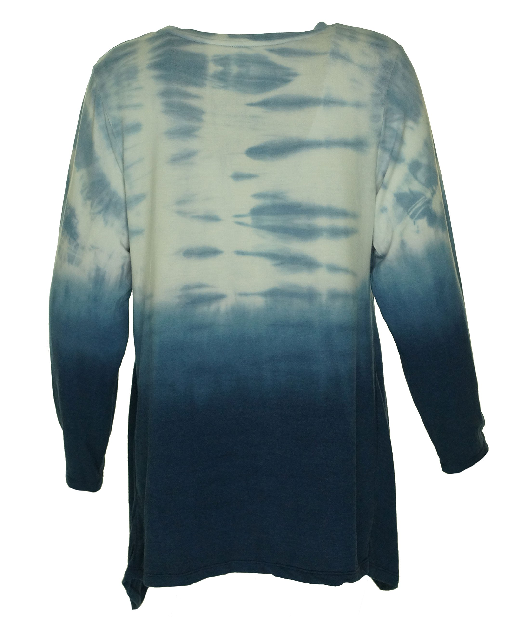 Style & Co. Womens Plus Ombre Tie Dye Casual Top Blue 2X