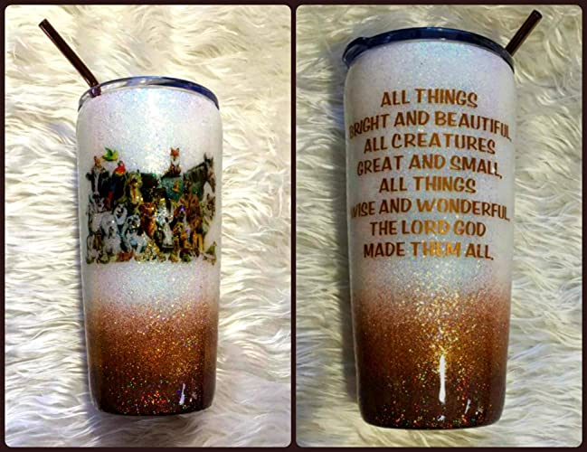 955edc2e833 READY TO SHIP - All Things Great and Small Animal Holographic Glitter  Tumbler Cup Double Wall Stainless Steel -Vet Gift - Dog, Cat, Goat, Cow,  Horse - 20 oz