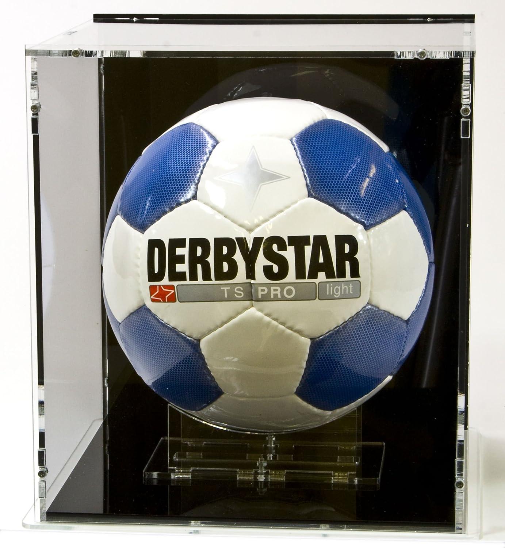 Vetrina espositiva per palloni da calcio con base nera e pannello posteriore nero