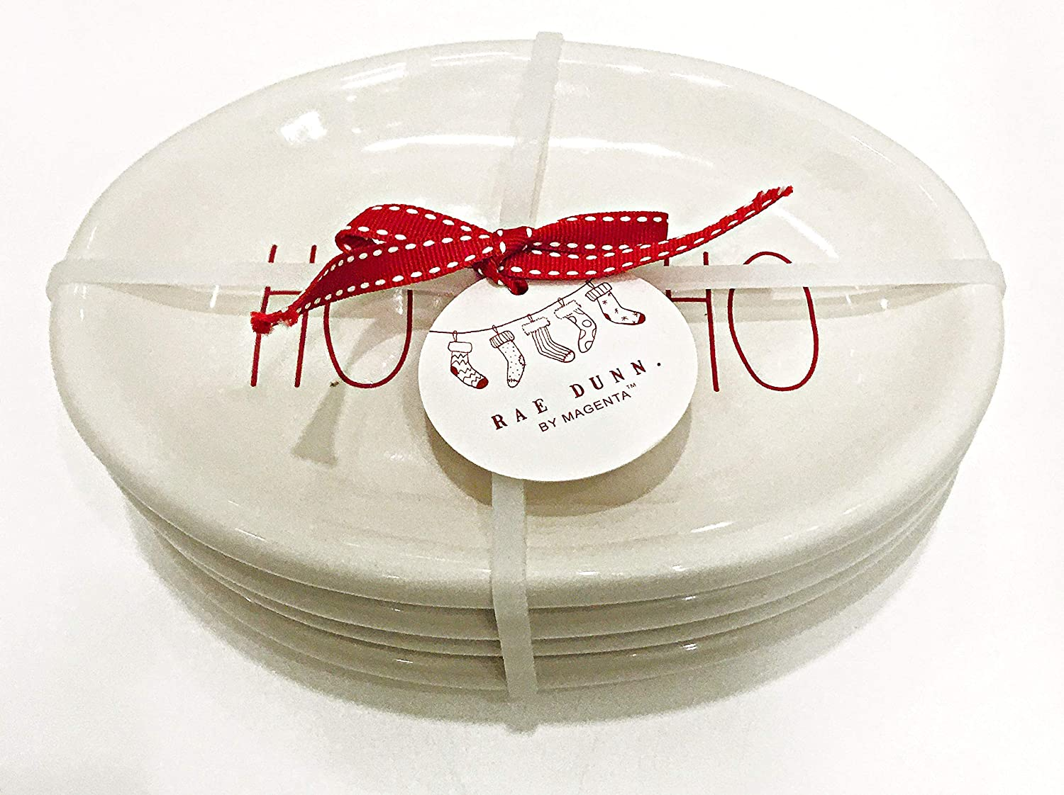 2 Rae Dunn by Magenta Christmas Set of 4 Fine Ceramic Appetizer Plates Inscribed: in Red in RED 2 FA LA LA HO HO HO /&