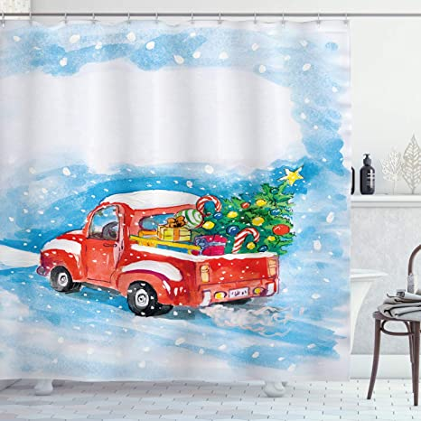 Ambesonne Christmas Shower Curtain Cloth Fabric Bathroom Decor Set with Hooks,