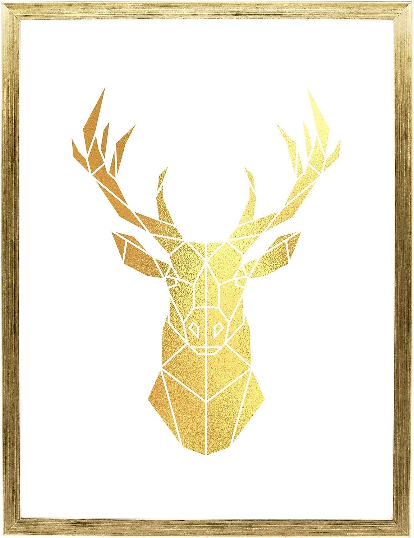Postergaleria Cuadro Moderno en Marco Dorado de 30 x 40 cm – póster con Acabado Dorado, Papel y plástico, Deer, 30 x 40 cm