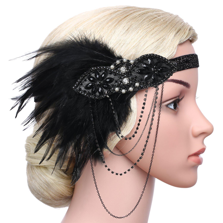 4e20010ea87ca5 ... ArtiDeco 1920s Stirnband Damen Gatsby Kostüm Accessoires 20er Jahre  Flapper Feder Haarband Ar-Headband004- ...