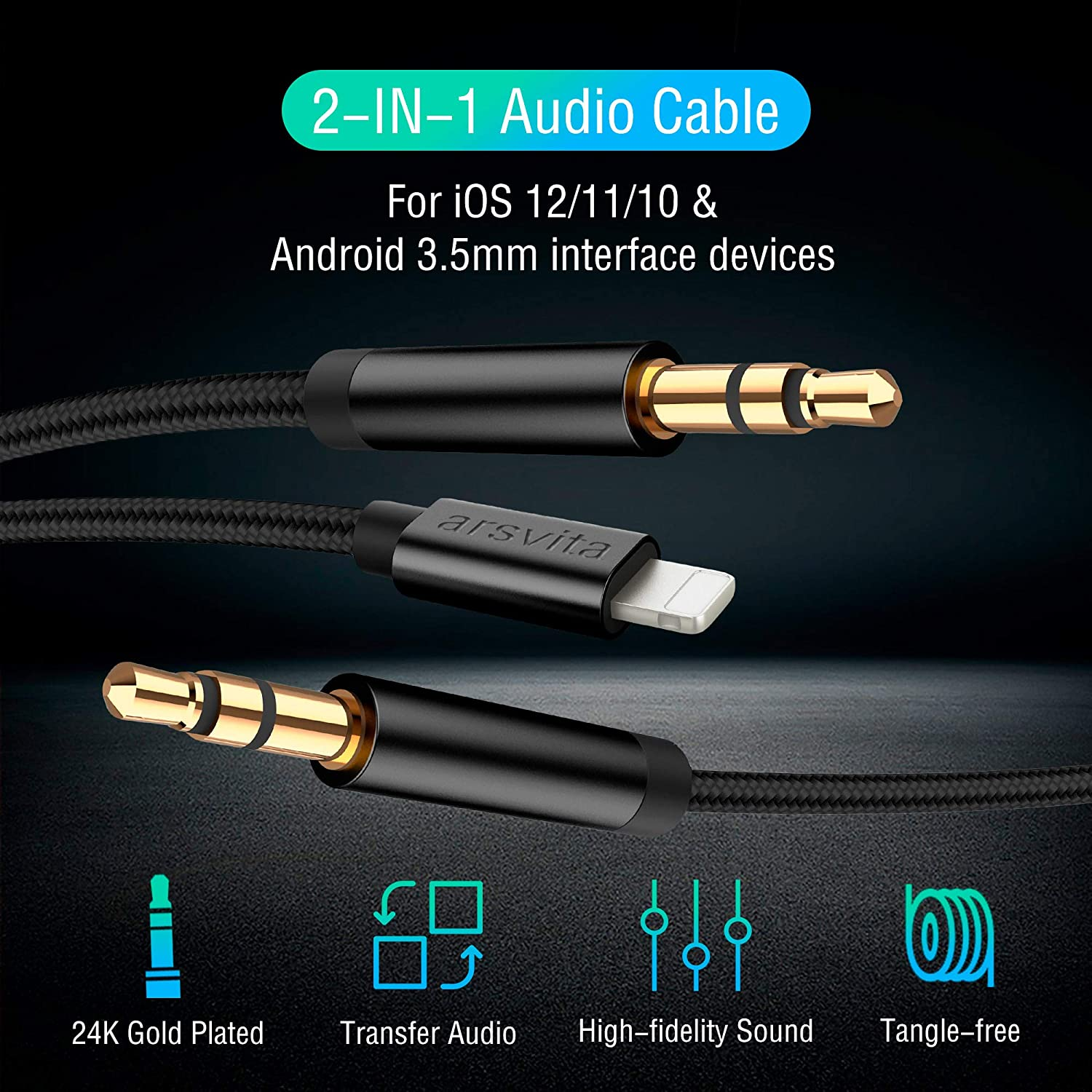 Braided 2 in 1 3.5mm Audio Cord Tangle Free Compatible with all IOS system Black Arsvita Car AUX Cable for Phone,