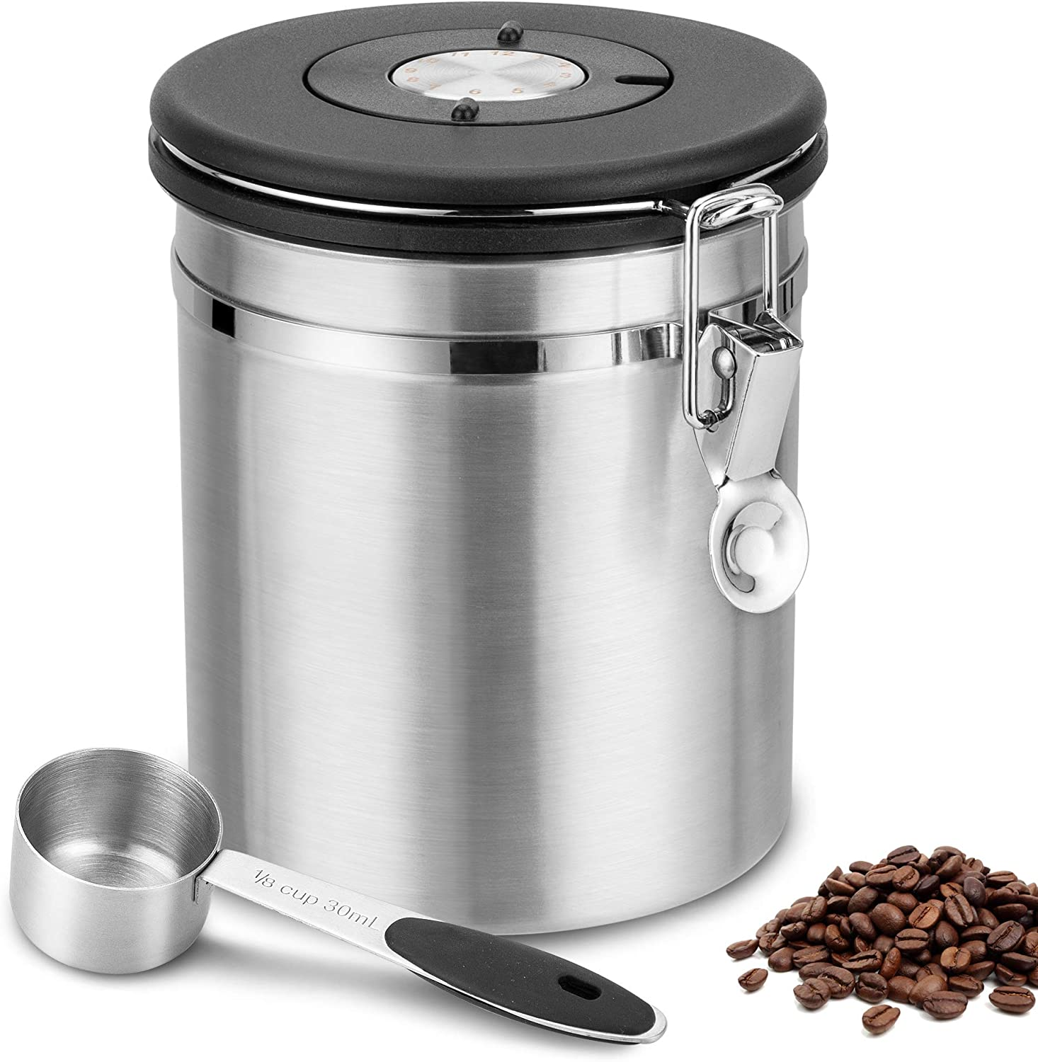 Coffee Canister, ENLOY Airtight Stainless Steel Coffee Storage Container with Lid, Container-One Way Co2 Valve with Date Tracker and Scoop Coffee Jar for Beans, Grounds, Tea, Flour, Sugar, 22oz