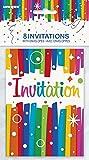 Unique Party - 49574 - Paquet de 8 Invitations de Fête Anniversaire Nœuds Arc-en-Ciel