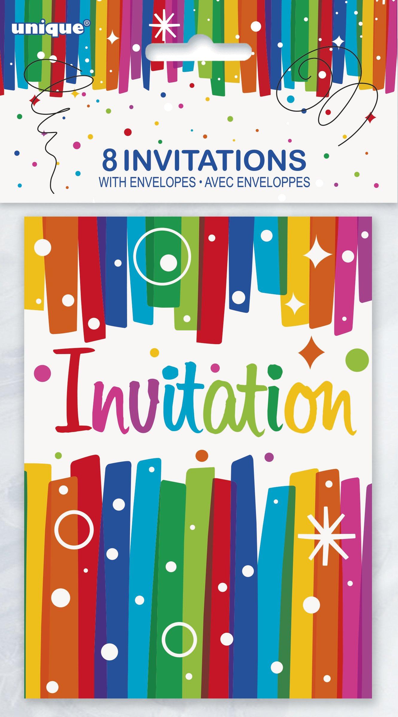 Rainbow Ribbons Birthday Party Invitations, 8ct