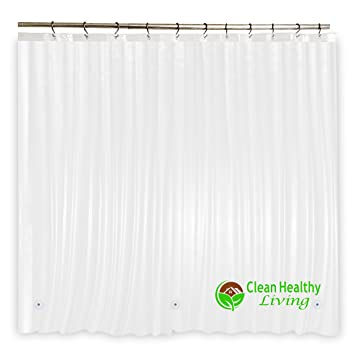 Heavy Duty PEVA Shower Curtain Liner: Odorless U0026 Anti Mold (with Magnets U0026  Suction