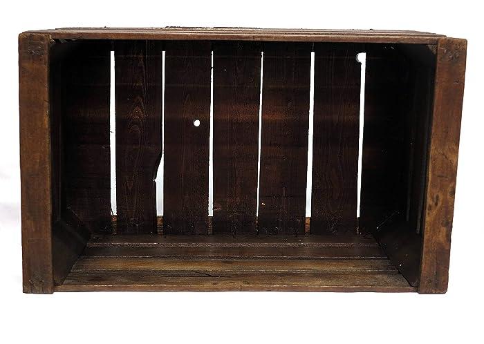 caja de madera de haya restaurada vintage nogal oscuro // recomendada para muebles, estantes