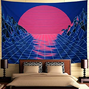 Ameyahud Sun Tapestry Mountain Tapestry Abstract Sketch Mountain River Tapestry Sunset Afterglow Landscape Tapestry for Bedroom (W78.8 × H59.1)