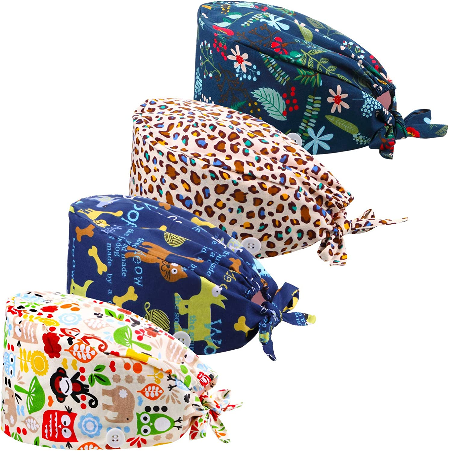 4 Pieces Bouffant Hats Working Cap with Button Sweatband, Adjustable Tie Back Floral Animal Printed Unisex Caps for Women Men: Clothing