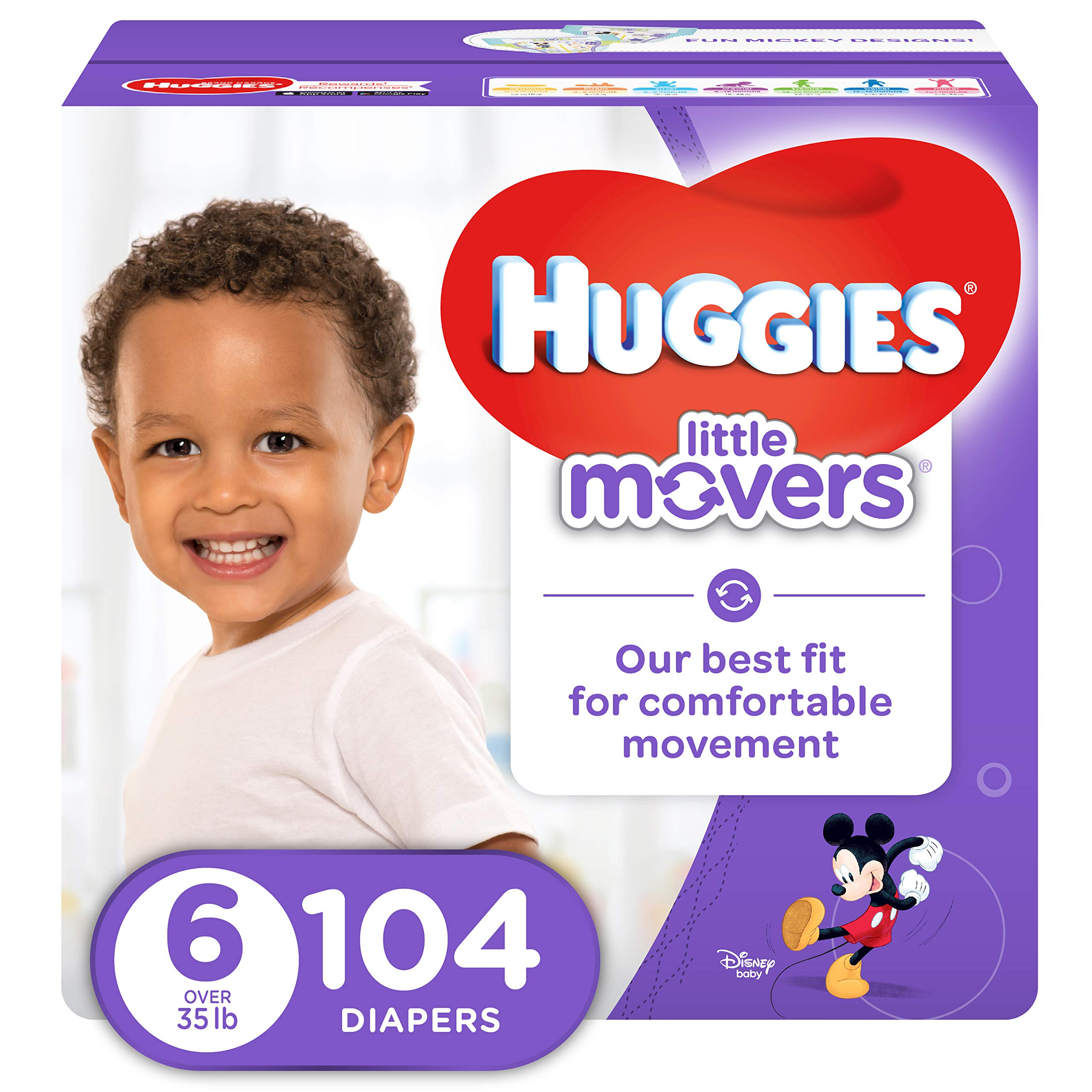 HUGGIES LITTLE MOVERS Active Baby Diapers, Size 6 (fits 35+ lb.), 104 Ct, ECONOMY PLUS (Packaging May Vary) by HUGGIES