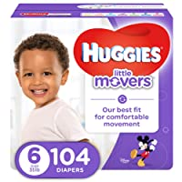HUGGIES LITTLE MOVERS, Baby Diapers, Size 6, 104 ct