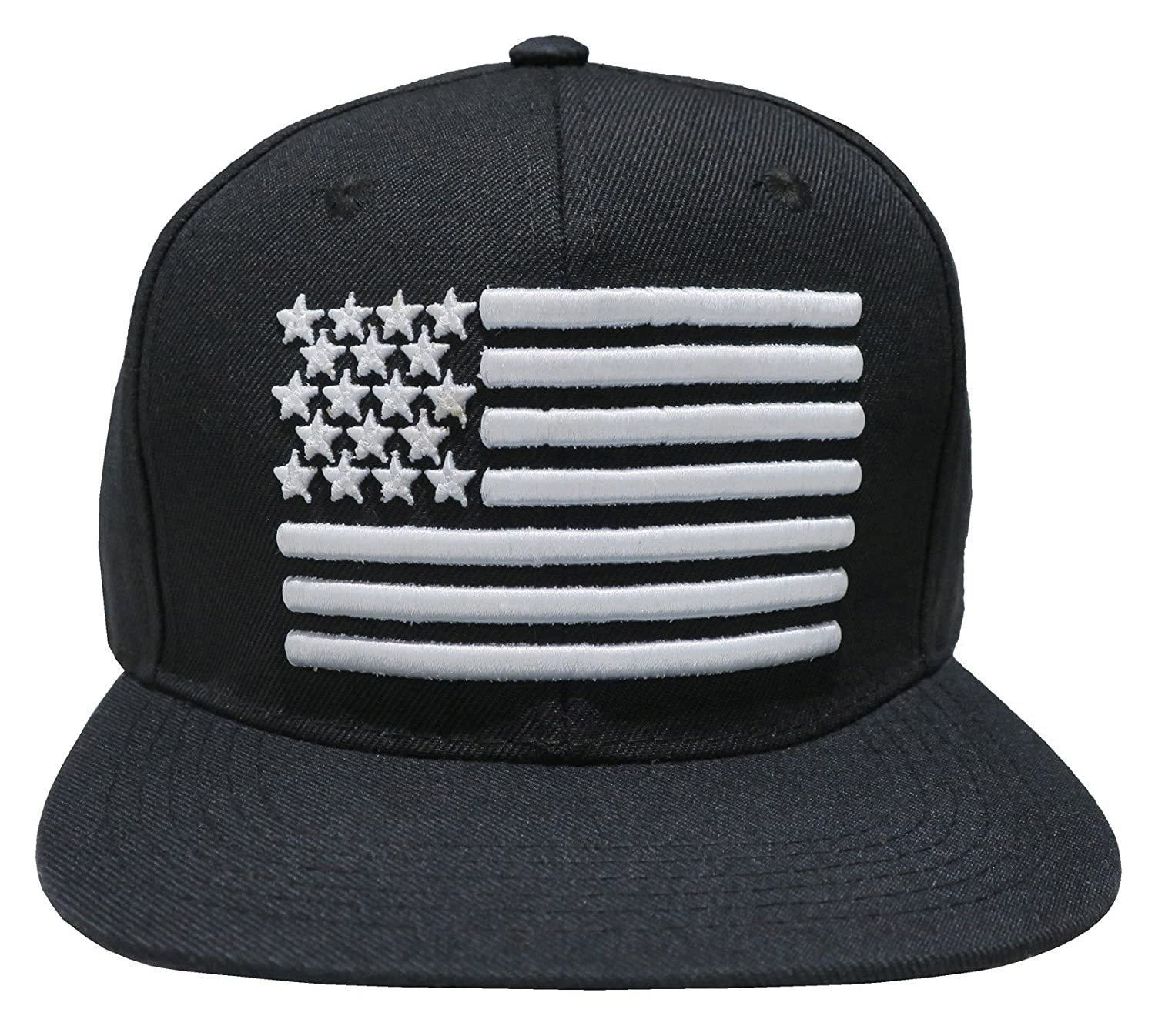 c19057386b5 Great Cities American Flag Embroidered Flat Bill Snapback Cap Hat (Black)  at Amazon Men s Clothing store
