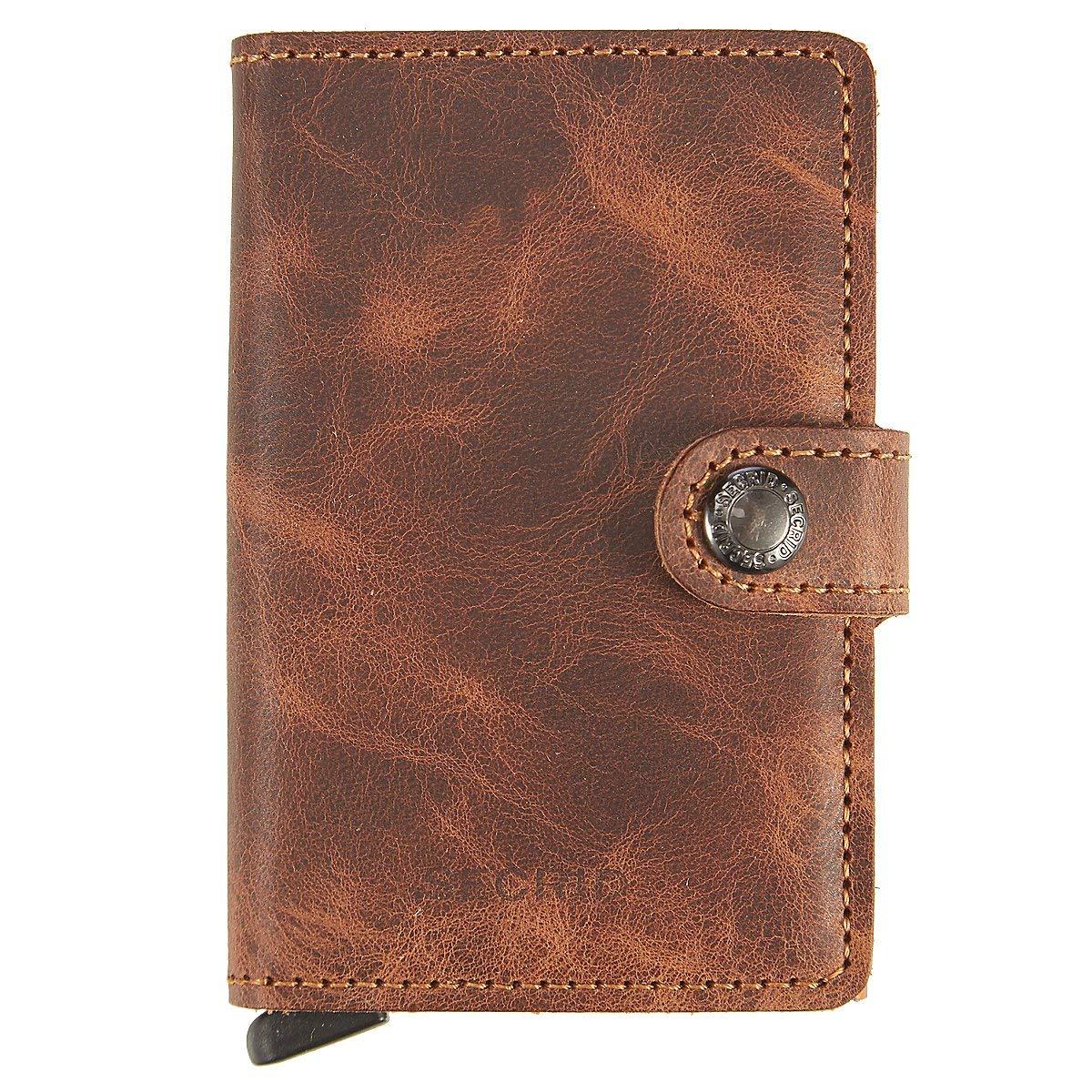 SECRID - Secrid Mini wallet Genuine Leather Cognac RFID Safe Card Case for max 12 cards (Cognac)