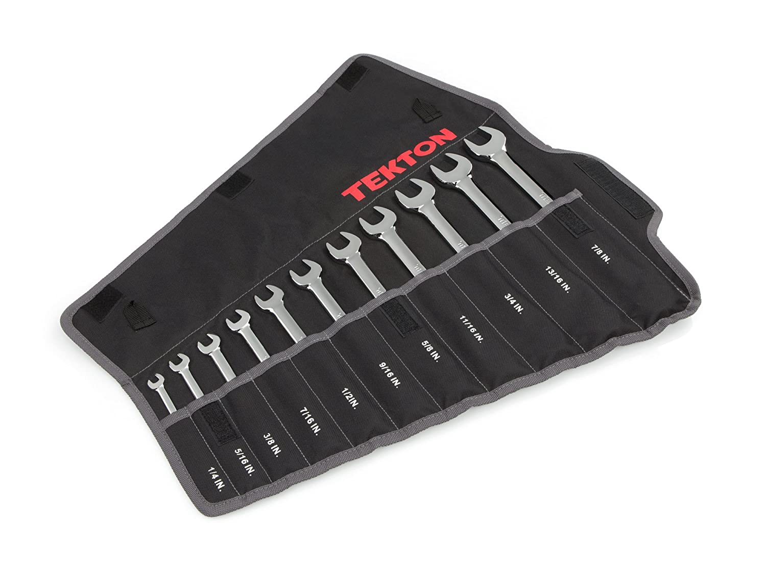 TEKTON Combination Wrench Set with Roll-up Storage Pouch, Metric, 8 mm - 19 mm, 11-Piece | WRN03389 Michigan Industrial Tools