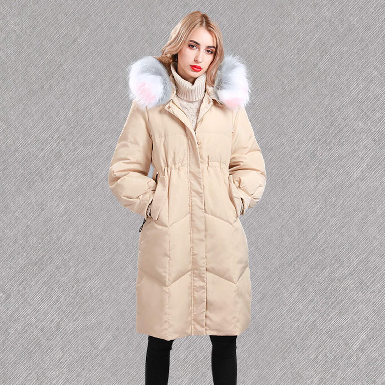 Beige Women's Fashion Slim Down Jacket Autumn Winter Fur Collar Windproof Coat with Hooded Ladies Outdoor Activities Outwear,Black,Beige