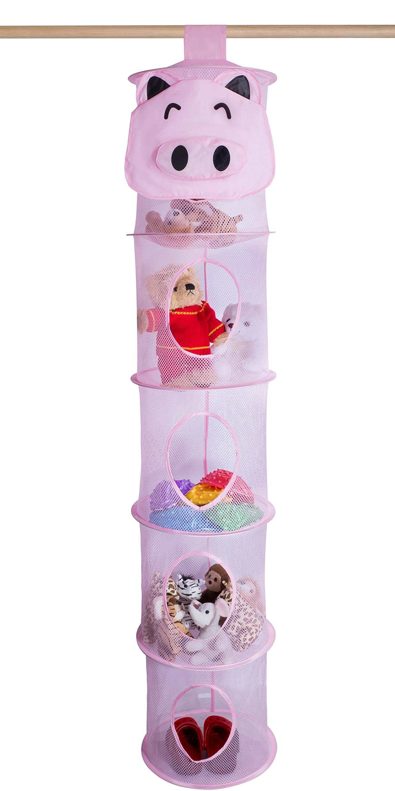5 Tier Storage Organizer - 12'' X 59'' - Hang in Your Children's Room or Closet for a Fun Way to Organize Kids Toys or Store Gloves, Shawls, Hats and Mittens. Attaches Easily to Any Rod. (Pig)