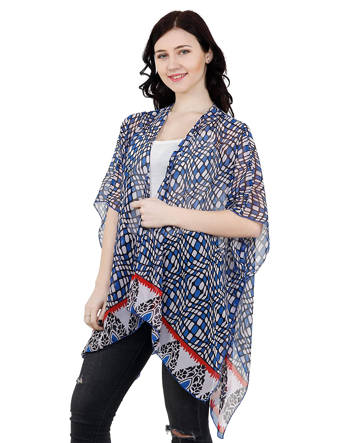 bluee W Border TC Tanu Collections Women's Beach Cover up Swimsuit Kimono Cardigan with Bohemian Floral Print