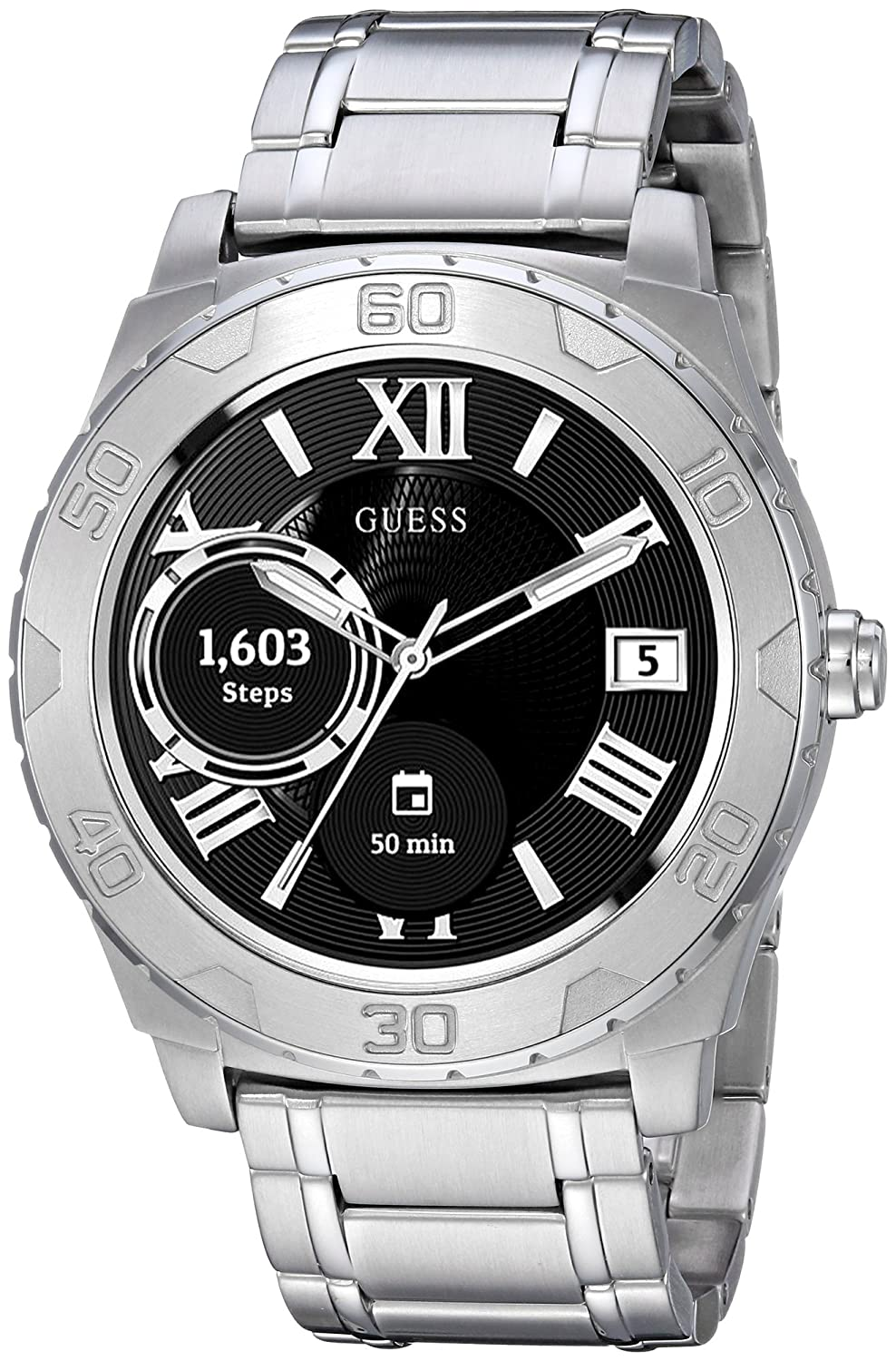 GUESS Mens Stainless Steel Android Wear Touch Screen Bracelet Watch