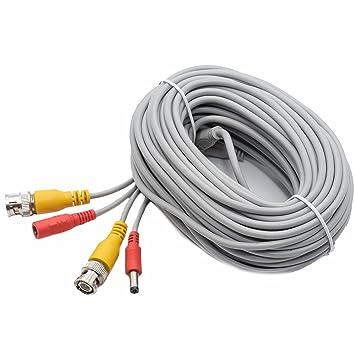 asdibuy 60 ft BNC Video Cable de alimentación cámara de seguridad Cable Cable de alimentación para cámara CCTV DVR sistema de seguridad: Amazon.es: ...