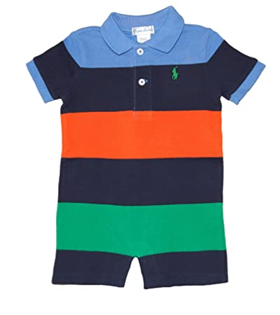 f7b11ce4b Image Unavailable. Image not available for. Color: Ralph Lauren Polo Baby  Boys Striped Cotton Mesh Shortall Romper ...