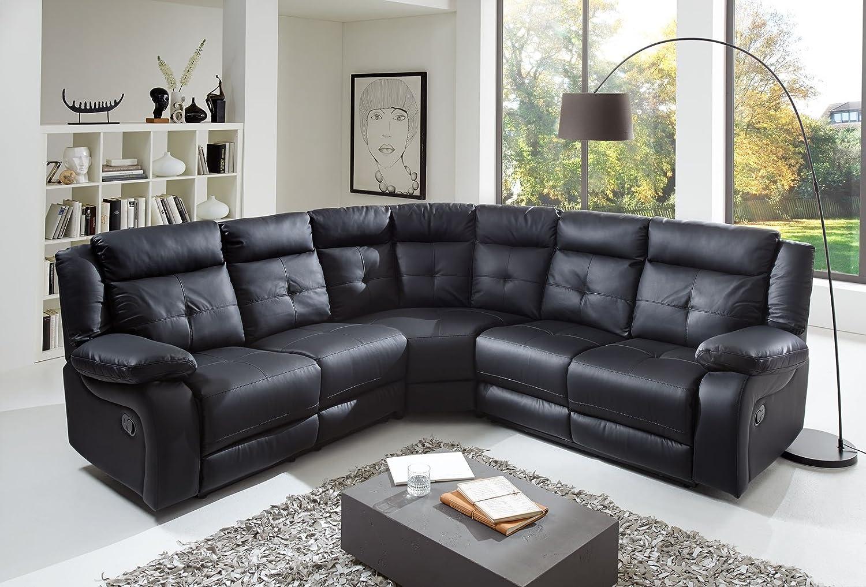 SAM® Ecksofa Alessio in schwarz, Kunst-Leder, pflegeleichte Oberfläche, modernes Design