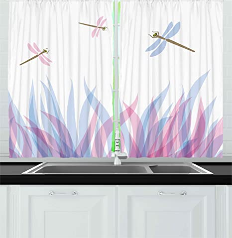 Ambesonne Dragonfly Kitchen Curtains Nature Themed Colorful Birds Like Bugs Flies On Abstract Image Window Drapes 2 Panel Set For Kitchen Cafe Decor 55 X 39 Violet Pink And Blue Home